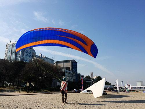 東京のビーチパラグライダー練習